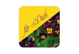 Geschenkaufkleber - eckig | lila gelbe Hornveilchen - Für Dich- Für Dich