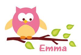 Wand-Türaufkleber | Kleine Eule - rosa