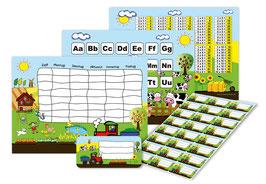 4 er Schulset:  Stundenplan + Lernposter + Heftaufkleber | Bauernhof