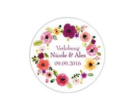 Hochzeitsaufkleber | Blumenkranz - violett