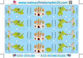 Schuhaufkleber | Ritter & Drache - blau