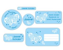 Schulaufkleber - Set | Schmetterlinge blau