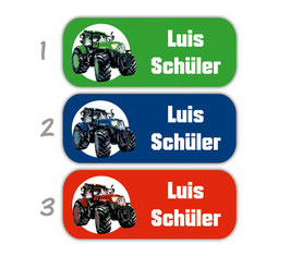 Namensaufkleber 2 x 5 cm   Traktor - grün rot blau