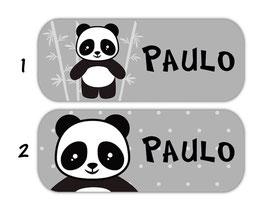 Namensaufkleber 2 x 5 cm | Pandabär - grau