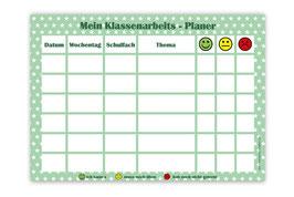 A4 Klassenarbeitsplaner - abwaschbar | Sternchen - grün