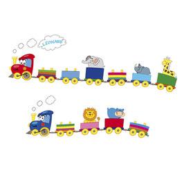 Wandaufkleber - Set | Lustige Eisenbahn mit Tiere - personalisierbar