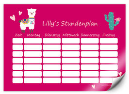 Stundenplan - selbstklebend   Lama pink