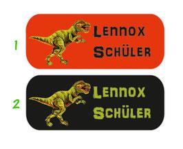 Namensaufkleber 2 x 5 cm | T-Rex
