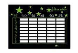 A4 Stundenplan | Sterne schwarz-grün