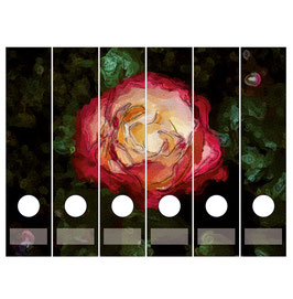 6er Set Ordnerrückenaufkleber | Rose