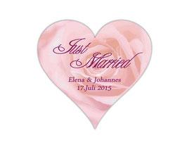 Hochzeitsaufkleber Herz  | romantische Rosen - rosa