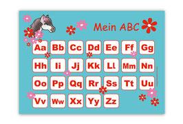 ABC Lernposter | Pony Blumen -  türkis rot
