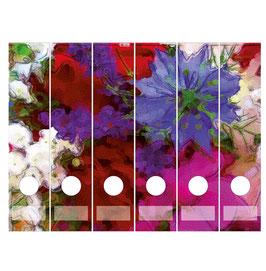 6er Set Ordnerrückenaufkleber | Wiesenblumen