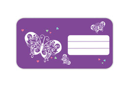 Heftaufkleber 4,4 x 8,4 cm | Schmetterlinge - lila