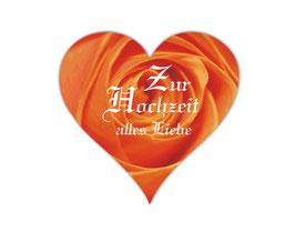 Hochzeitsaufkleber Herz  | romantische Rosen - orange