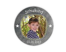 Aufkleber Einschulung | Tafeloptik - Schulkind Sternchen - personalisierbar mit Foto