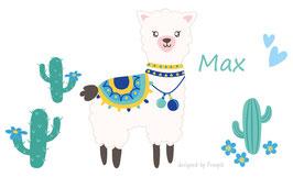 Wandaufkleber - Set   Lama blau mit Kakteen, Blüten & Herzen - personalisierbar
