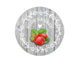 Marmeladenaufleber rund | Holzoptik mit Blumenornament - Erdbeere