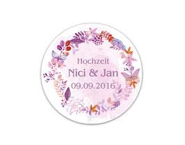 Hochzeitsaufkleber | Herbstlicher Blätterkranz & Schmetterlinge - lila