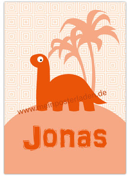 Namensposter - Langhals Dino - apricot
