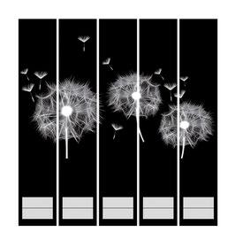 5er Set Ordnerrückenaufkleber | Pusteblume schwarz