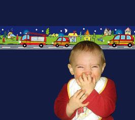 Kinderbordüre | Feuerwehr - Nacht