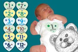 Baby Meilenstein Aufkleber | Herz mit Sternchen 1 - 12 Monat