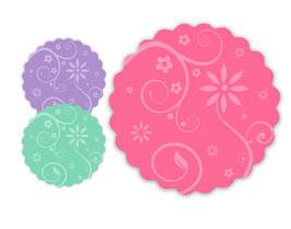 Etiketten rund | Blumenornamente - zum selbstbeschriften