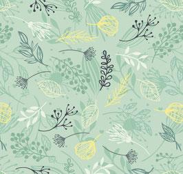 ECO Vliesbordüre | Blätter & Blumenstänge - grün