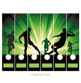 6er Set Ordnerrückenaufkleber | Fußball grün