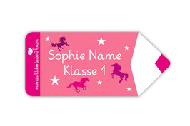 Form - Namensaufkleber | Stift - Pferde rosa