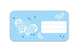 Heftaufkleber 4,4 x 8,4 cm   Schmetterlinge - hellblau