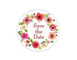 Hochzeitsaufkleber | Blumenkranz - rot - Save the Date