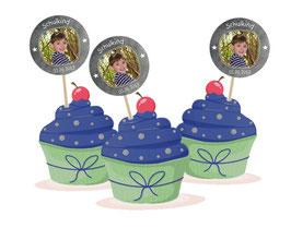 Kuchendeko  - selbstklebend  | Schulkind Sternchen- Tafeloptik