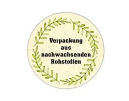 Verpackungsetiketten - rund   Verpackung aus nachwachsenden Rohstoffen