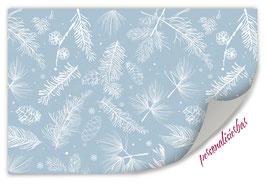 Geschenkpapier | Zapfen und Nadeln - blau