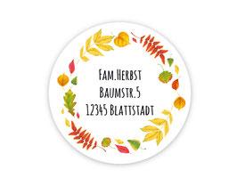 Adressaufkleber rund  | Herbst - Bunte Blätter