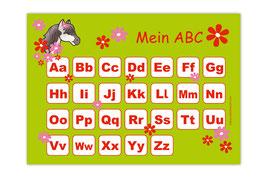 ABC Lernposter | Pony Blumen - grün
