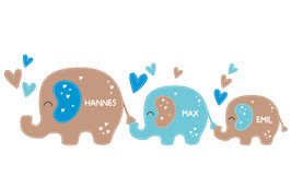 Geschwister - Wandaufkleber | 3 Elefanten Herzchen - personalisierbar
