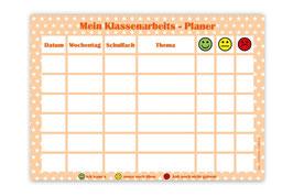 A4 Klassenarbeitsplaner - abwaschbar   Sternchen - apricot