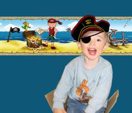 selbstklebende Kinderbordüre   Kleiner Pirat