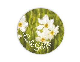 Geschenkaufkleber - rund | weiße Narzisse - Liebe Grüße