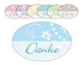 Geschenkaufkleber - oval | Danke - Merci - Thanks - Florale Ornamente