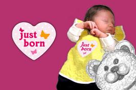 Baby Meilenstein Aufkleber | Herz rosa - just born