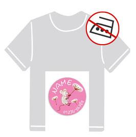 Kleidungsaufkleber rund | Maus - rosa