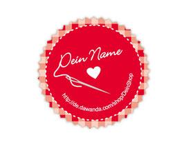 Handmade Aufkleber - rund  | personalisierbar mit deinem Shopnamen