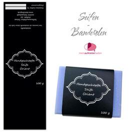 8 Seifenbanderolen | Orient schwarz silber - personalisierbar & transparente Klebepunkte