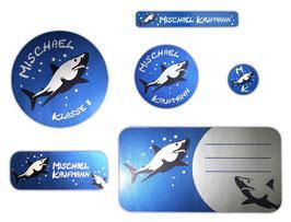 Schulaufkleber-Set Silberfolie | Hai