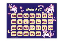 ABC Lernposter | Einhorn - dunkelblau