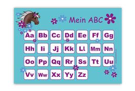 ABC Lernposter | Pony Blumen - türkis lila